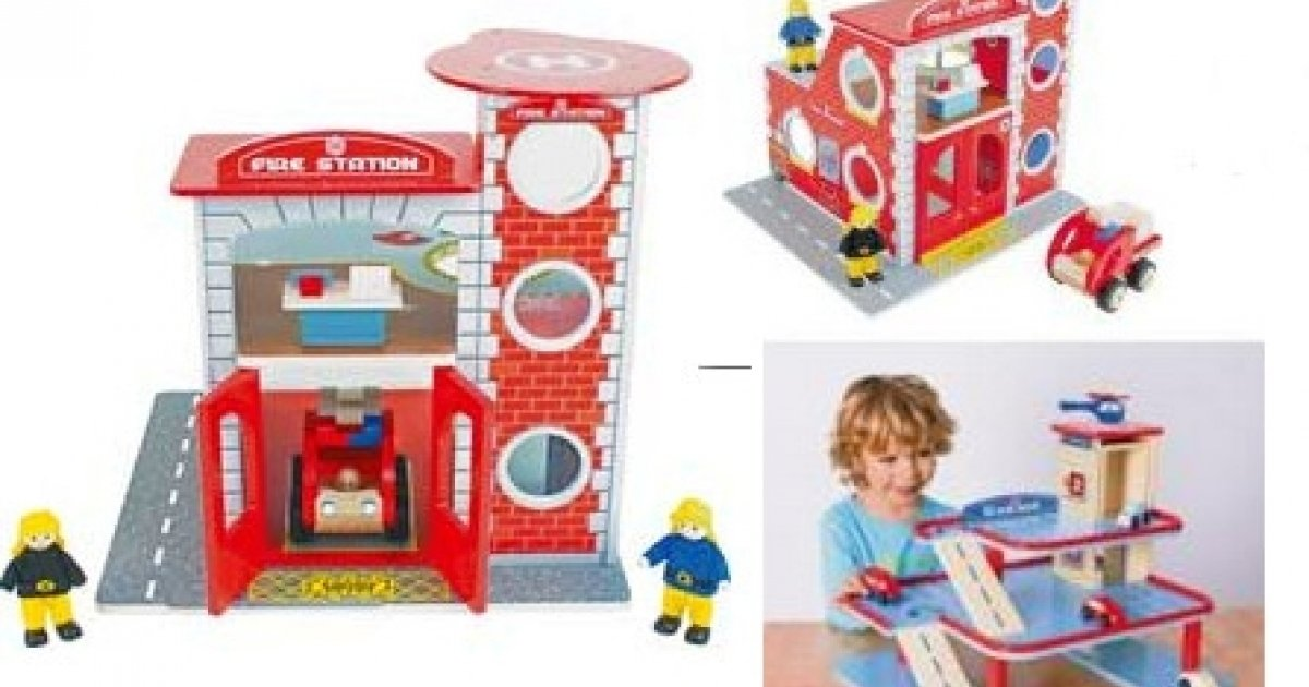 chad valley wooden fire station and garage playset. Black Bedroom Furniture Sets. Home Design Ideas