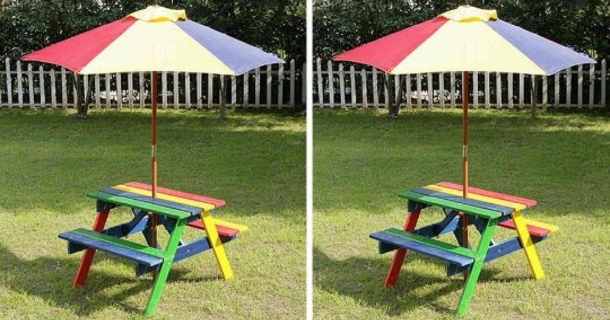 Children S Wooden Picnic Bench Parasol 19 99 Was 29 In B M