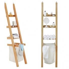Large Bamboo Ladder Shelf With Laundry Bag