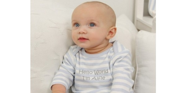 Hello World Personalised Stripe Baby Grow £15.60 Delivered (With Code) @ My 1st Years