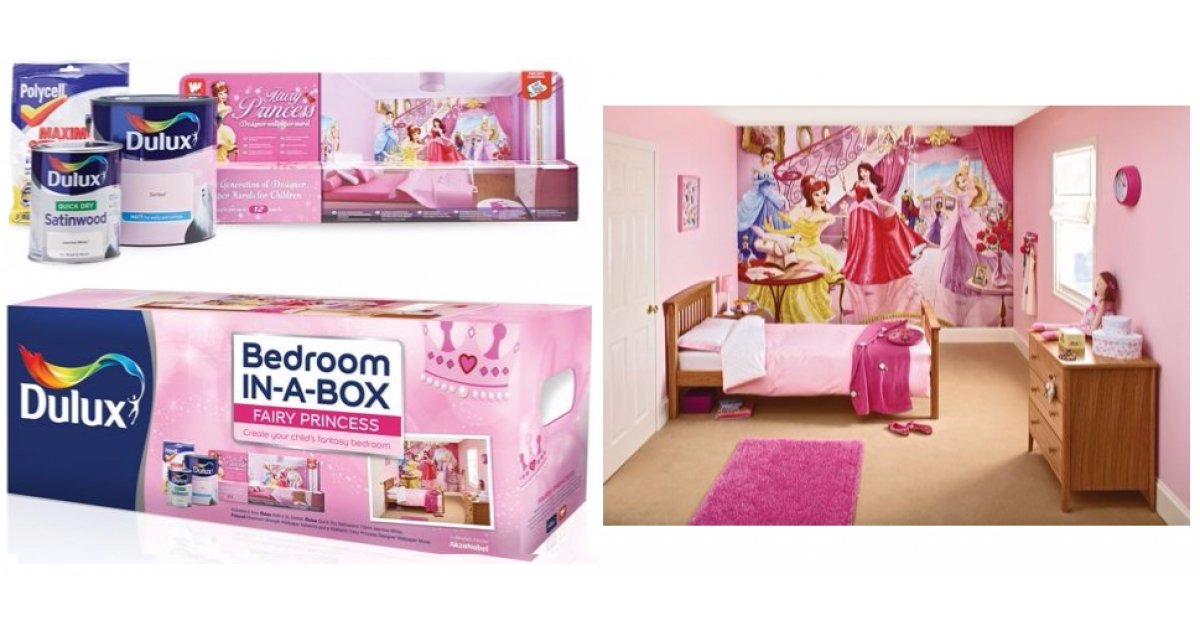 Dulux Zestaw Bedroom In A Box: Princess Dulux Bedroom In A Box Mural & Decorating Kit £34