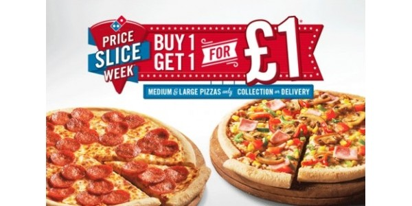 Price Slice Week @ Domino's Pizza! Buy One Pizza Get One For £1