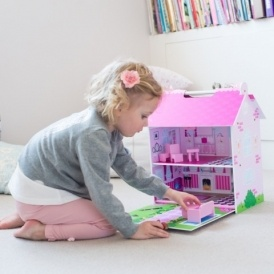 Plum Hove Wooden Dolls House Pink £29.99