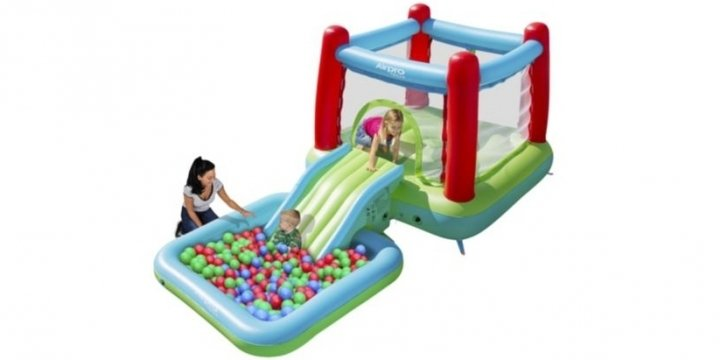 Airpro bouncy castle with slide pool 90 was 130 for Garden pool tesco