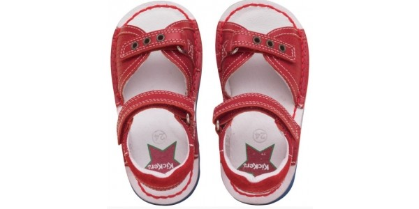 Kickers Infant Kick Jess Red Leather Sandals £12.79 (Was £39.99) @ M and M Direct