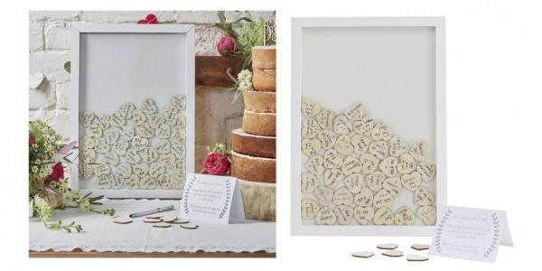 Wooden Wedding Guest Book Frame and Hearts £20 + Free C&C @ Hobbycraft