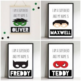 Personalised Superhero Print £8 Delivered