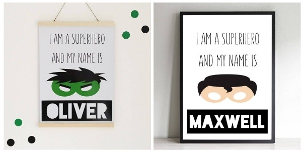 Personalised Superhero Print £8 Delivered @ Not On The High Street
