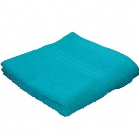 Pure Cotton Face Cloths In Aqua/Brown 13p