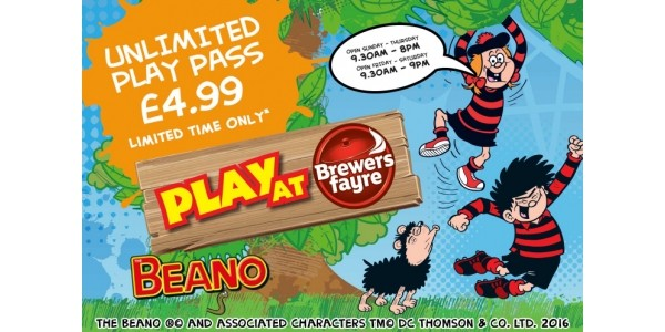 Unlimited Play At Pass Just £4.99 For Whole Of August @ Brewers Fayre