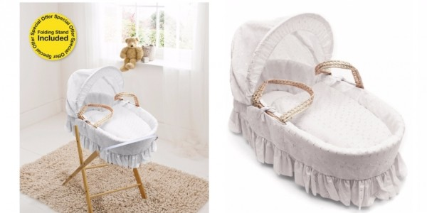 Broderie Anglaise White Moses Basket With Folding Stand £34.89 @ Asda George