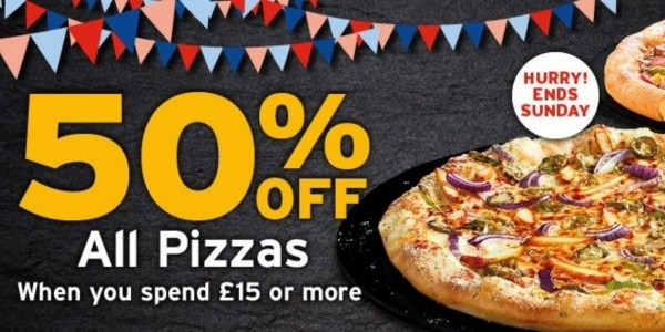 50% Off Pizzas When You Spend £15 @ Pizza Hut