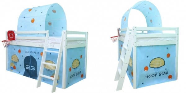 Basketball Wooden Mid Sleeper Bed With Tent & Tunnel £99.90 Delivered @ eBay Seller: KMS Directshop