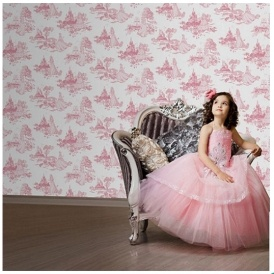 Disney Princess Pink Toile Wallpaper