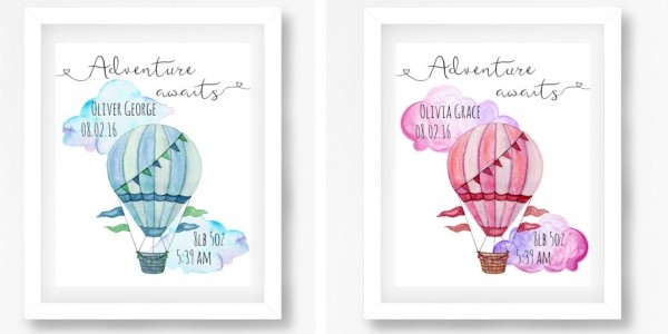 Hot Air Balloon Personalised Nursery Art Print £5 Today Only @ Perfect Little Prints Etsy Store
