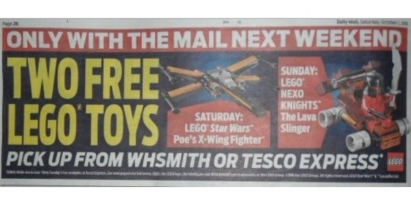 FREE Lego With The Daily Mail 8th & 9th October
