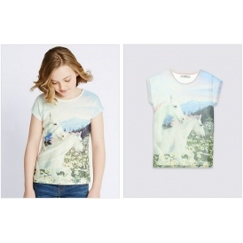 4D Unicorn Print T-Shirt Now £5