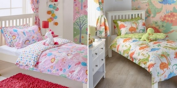 Toddler Dinosaur Or Unicorn & Rainbow Bedding Sets Now £5.60 Delivered @ M&Co (Expired)