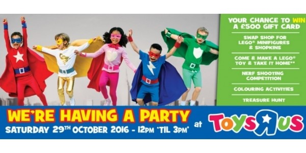FREE Toys R Us Store Party 29th October