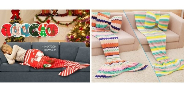 Mermaid Tail Blankets & Bow Cushions / Christmas Print Mermaid Tail Blankets From £12.99 @ Wowcher