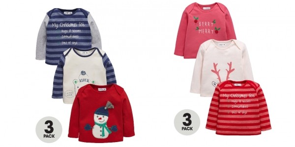 Ladybird Baby Girls Christmas T-Shirts (3 Pack) £5-£6 @ Very