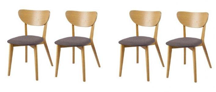 Stockholm Oak Mocha Upholstered Set Of 4 Dining Chairs 59 Tesco Direct