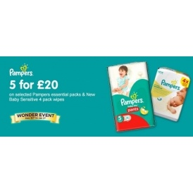 5 for £20 on Pampers Nappies & Wipes