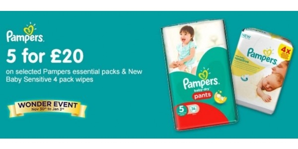5 for £20 on Pampers Nappies & Wipes @ Boots