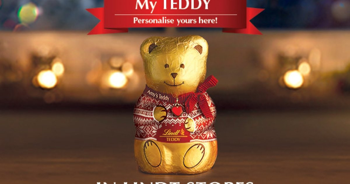 get your lindt chocolate teddy personalised this christmas. Black Bedroom Furniture Sets. Home Design Ideas