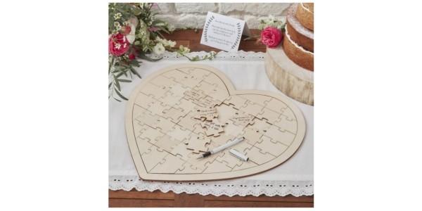 Ginger Ray Wooden Wedding Jigsaw Guest Book £15 @ Hobbycraft
