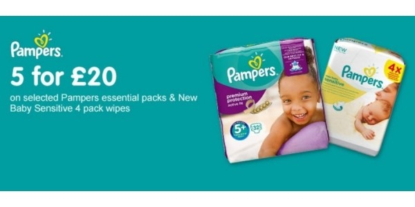 5 For £20 On Pampers Essential Pack Nappies & Wipes @ Boots