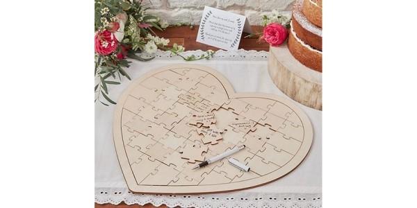 Wooden Heart Jigsaw Wedding Guest Book £13.99 @ Tesco Direct