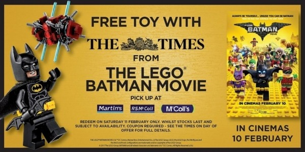 FREE Lego Batman Movie Set With The Times On 11th February