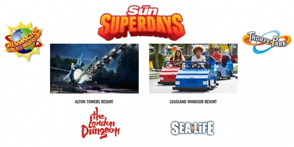Get Two FREE Tickets To Alton Towers/Chessington/Legoland/Thorpe Park & Others (Tokens Req) With The Sun Superdays