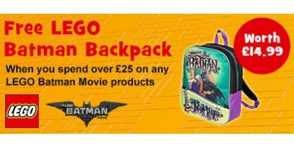 FREE Lego Batman Backpack When You Spend £25 On Lego Batman Movie @ Toys R Us