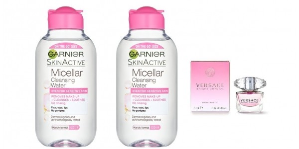 TWO Garnier Skin Naturals Micellar Cleansing Water 125ml £2 Delivered & FREE Versace Miniature @ Superdrug
