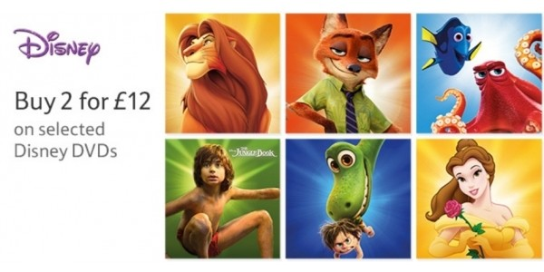 Disney DVDs 2 for £12, Blu-rays 2 for £15, 3D Blu-rays 2 for £18 @ Various Retailers