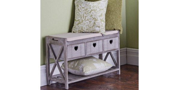 Rustic Heart Drawer Storage Bench Now £40 @ The Original Factory Shop
