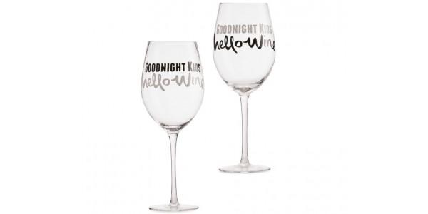 'Goodnight Kids Hello Wine' Set Of 2 Glasses £7.99 Delivered @ Aldi