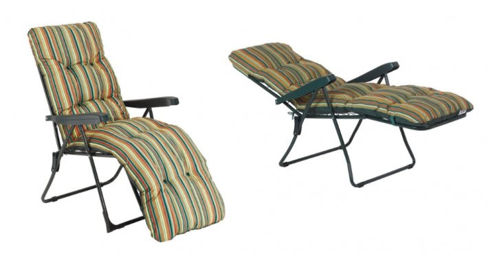 Striped Foldable Multi Position Sun Lounger With Cushion 163