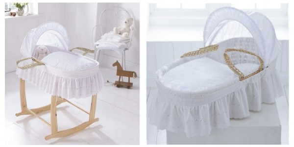 Clair de Lune Broderie Anglaise Palm Moses Basket £24 @ Tesco Direct