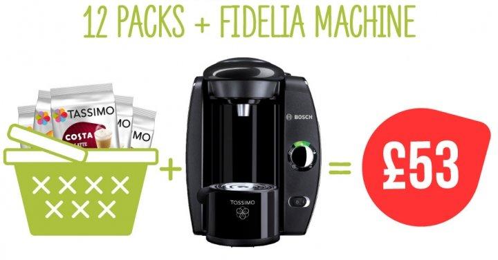 Tassimo Fidelia Coffee Machine + 12 Packs Of Pods ?53 @ Tassimo