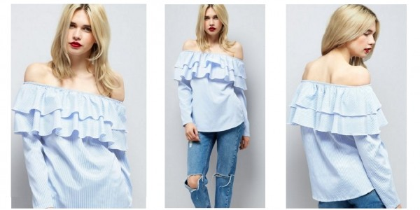 WTFashion Deal: Cameo Rose Blue Stripe Frill Trim Bardot Neck Top £5.99 Delivered (With Code) @ New Look (Expired)