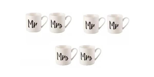 Mr & Mrs/ Mr & Mr/ Mrs & Mrs Set of Wedding Mugs £4 @ Asda George