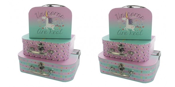 Set Of 3 Unicorn Storage Suitcases £7 or 2 For £10 @ The Works