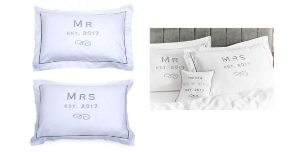 Set of 2 Mr & Mrs Established 2017 Pillowcases £14 @ Next