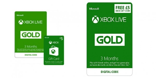 Xbox Live 3 Month Gold Membership With £5 Xbox Live Credit £14.99 @ Amazon/Game
