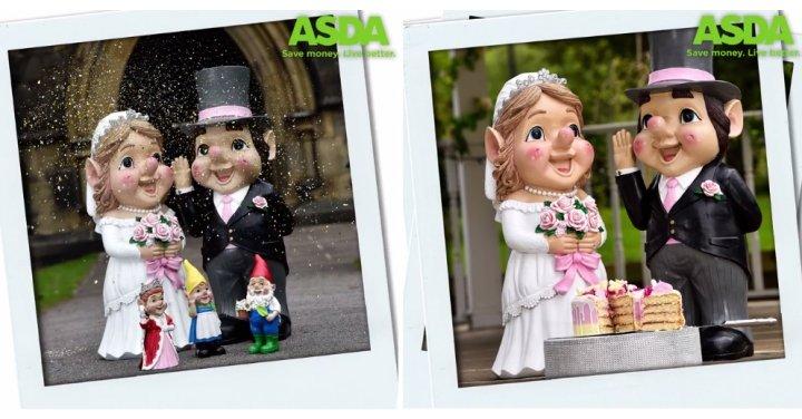 New Bride Amp Groom Giant Gnomes Asda