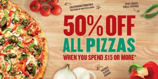 50% Off All Pizzas When You Spend £15 Or More @ Papa John's
