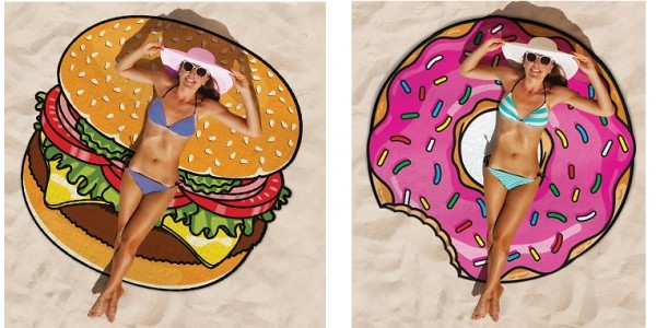 Fast Food Round Beach Towels £7.99 (+ £2.99 Delivery) @ Go Groopie